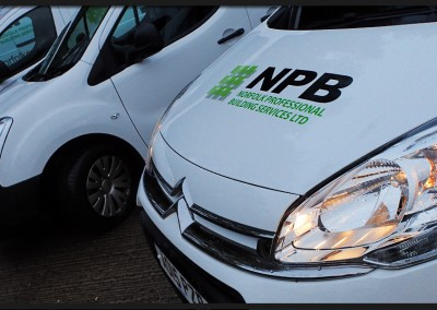 Fleet vehicle graphics for NPB Norfolk Professional Building Services, six vans including Vauxhall Corsas, Ford Transit and Citroen Berlingos