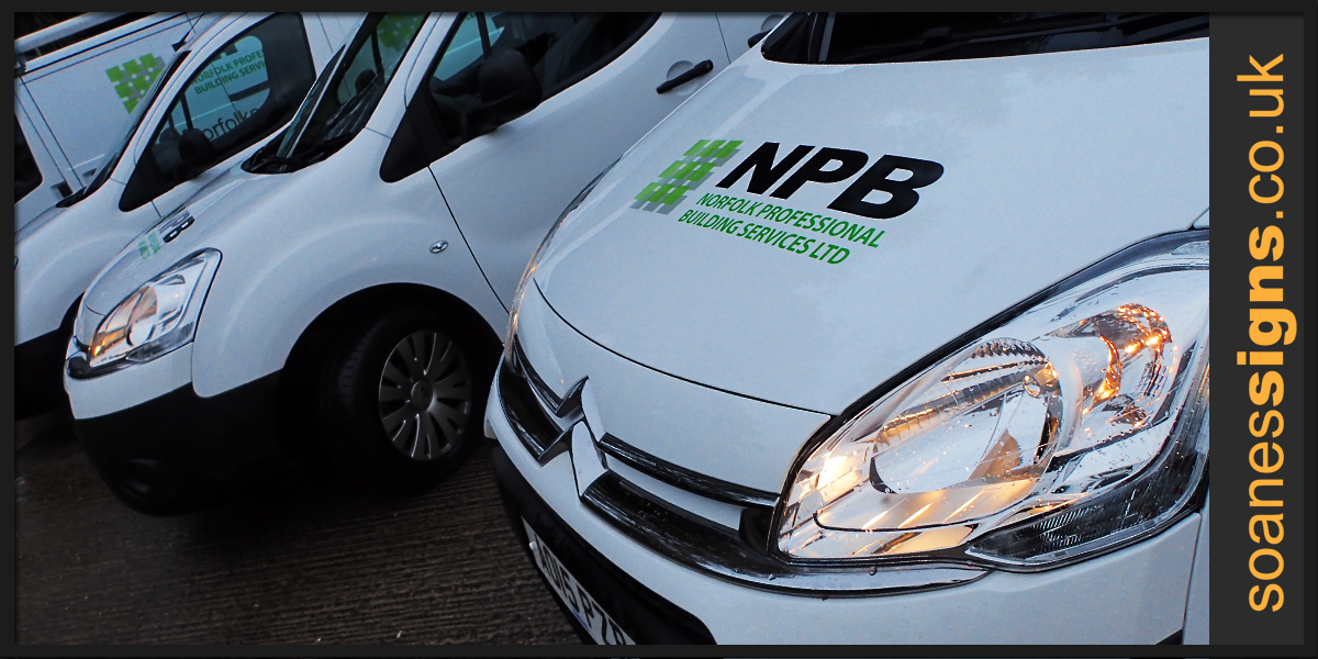 Fleet vehicle graphics for NPB Norfolk Professional Building Services, six vans including Vauxhall Corsas, Ford Transit and Citroen Berlingos