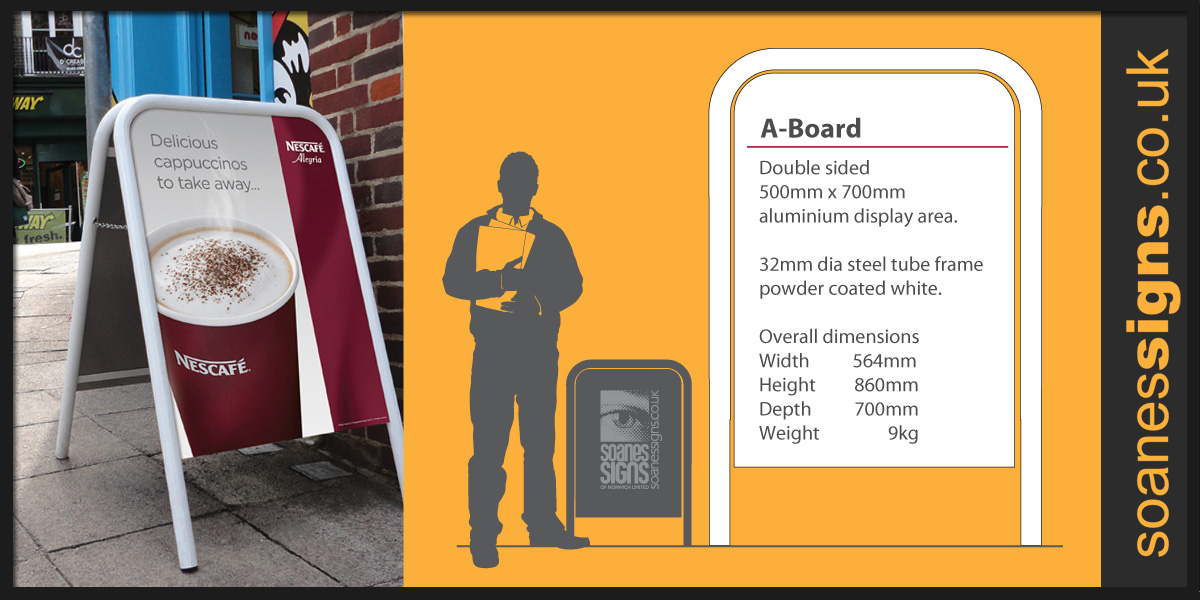A-Board pavement street signs, tubular steel frame and aluminium back panel