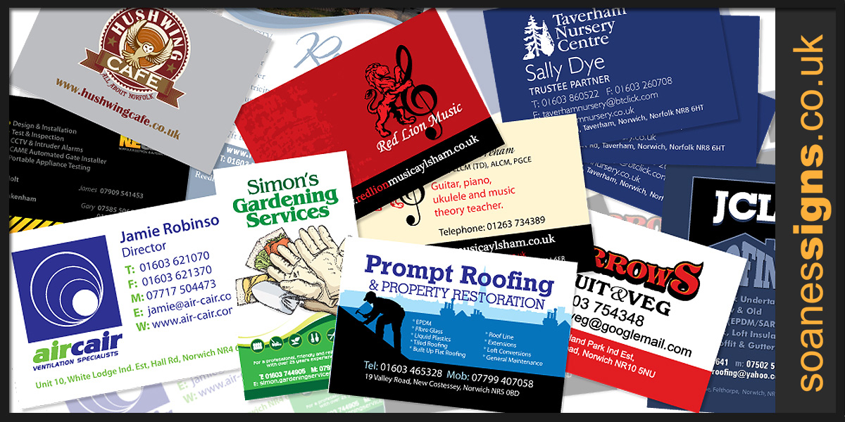 A selection of business cards designed and printed for a number of Norwich, Norfolk and East Anglia businesses