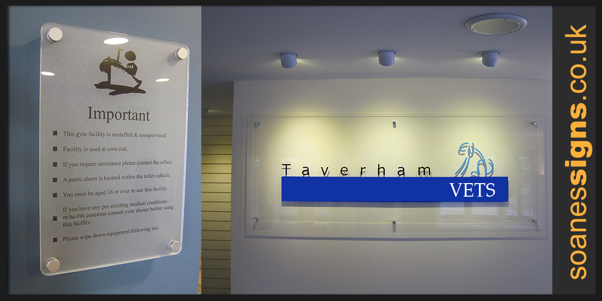 Acrylic signs on metal locators and off-stands for a contemporary style to internal or external banding, information and directional boards