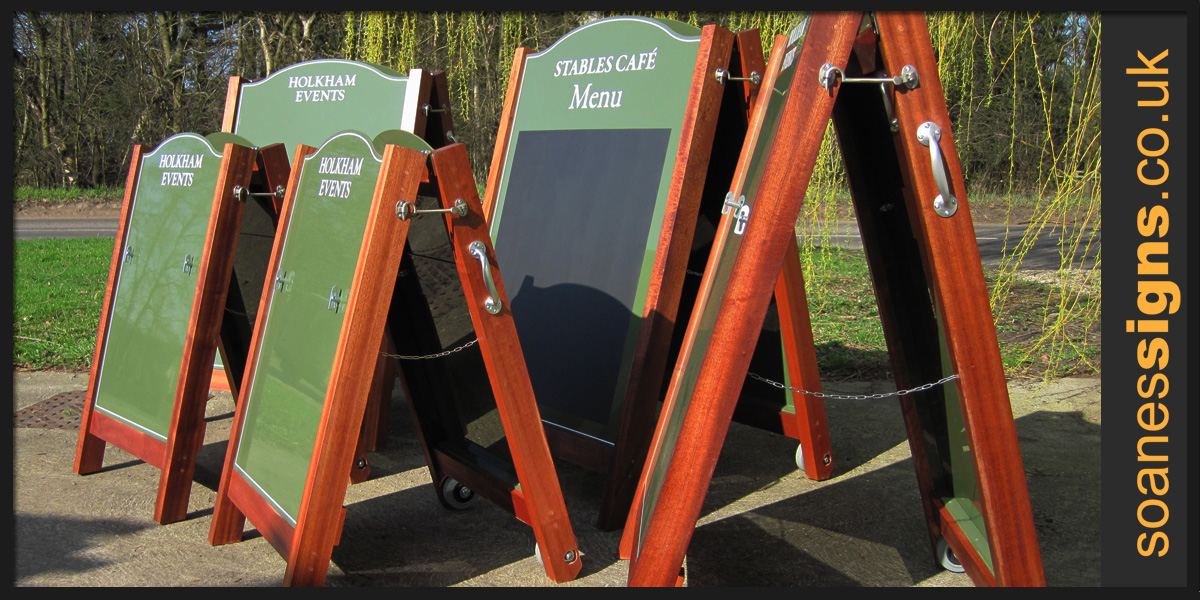 Bespoke hand-made timber frame A-Board with powder coated aluminium panel for Holkham Hall