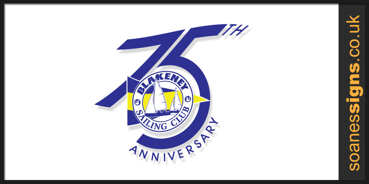 Blackney Sailing Club 75th anniversary logo for club information documents, year book, flag and celebratory merchandise