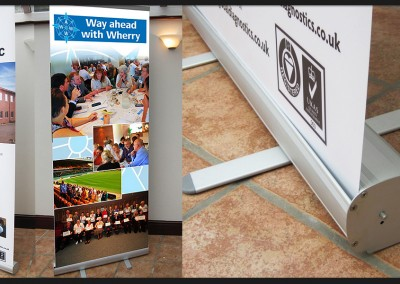 Design and print of pop up roller banners for internal advertising, receptions, exhibitions and events