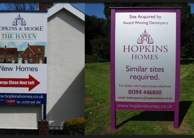 Developers site promotional signs, timber frames and post with printed and applied graphics for Hopkins Homes and Hopkins and Moore house builders