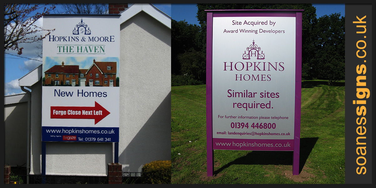 Site h s signs soanes signs of norwich for On site home builders