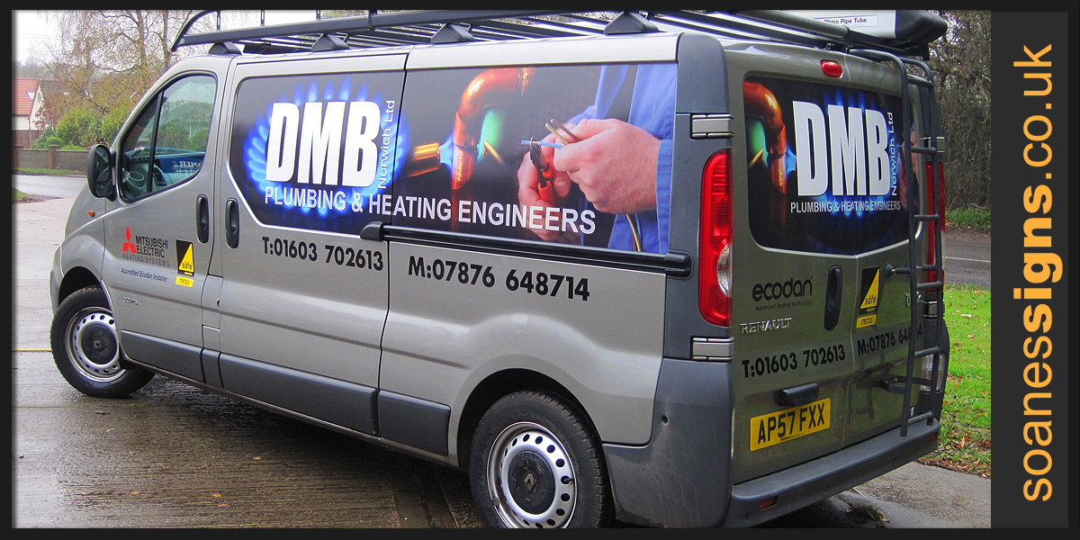 Digital printed vinyl graphics applied to DMB Plumbing Renault Traffic van with vinyl branding and accreditation logo decals