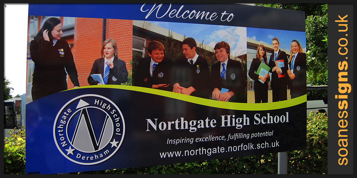 Entrance post mounted printed graphic sign for Dereham Northgate High School