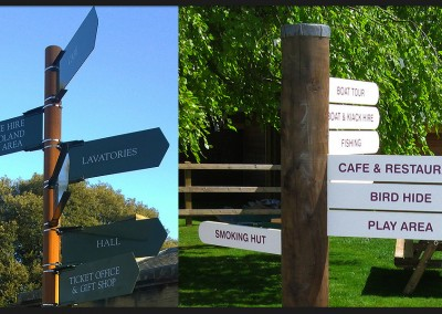Finger post directional signs with timber or aluminium posts, designed with as many indicated positions as required