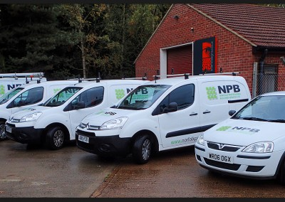 Fleet vans with printed and cut vinyl vehicle graphics on Vauxhall Corsas, Ford Transit and Citroen Berlingo's for NPB Norfolk Professional Building Services