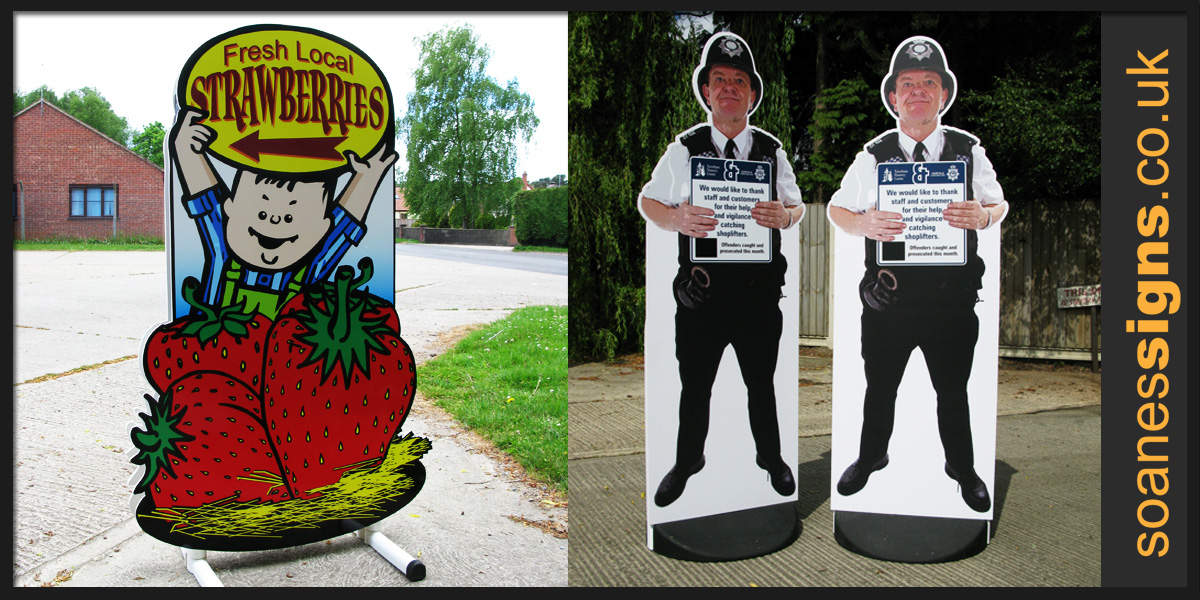 Free standing shape cut pavement and street signs with digital prints provide a quirky alternative