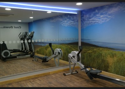 Full height graphic wall print for Pinewoods Gym