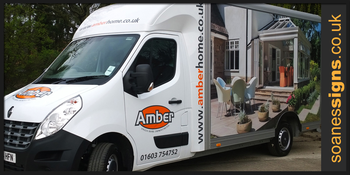 Full vinyl print applied to the box sides of Amber Renault LoLoader with supporting vinyl brand graphics