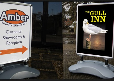 Heavy duty water filled based clip frames with digital prints, sprung dampening provides improved outdoor performance