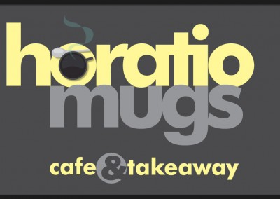 Horatio Mugs Café and Takeaway branding logo used across a variety of media including shop signs