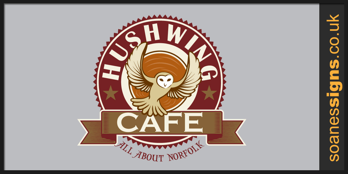 Hushwing Café logo design, used on signage including street signage swinger panels