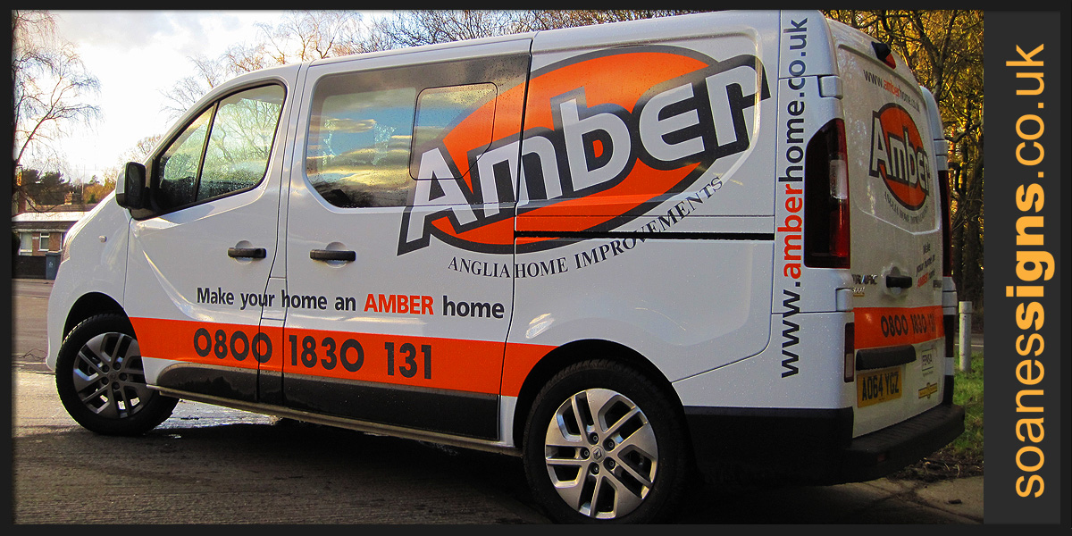 Large scale vinyl cut logo graphics and branding applied to Amber Home Improvements Renault Traffic vehicle