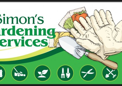 Logo and branding design for business cards and flyers for Simons Gardening Services