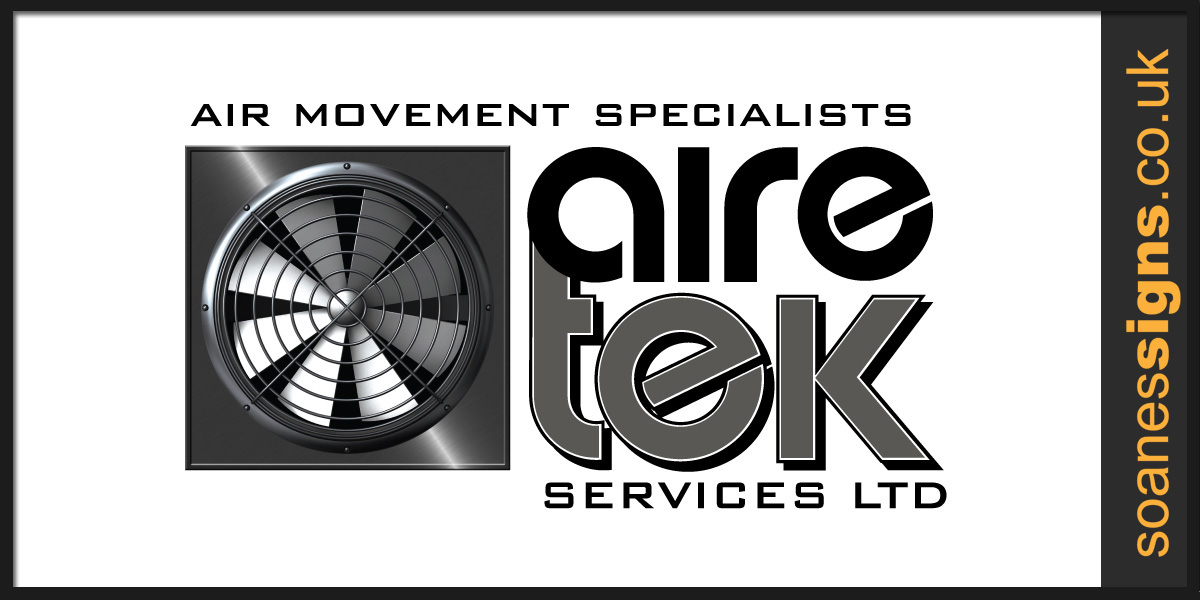 Logo design for Aire Tek Air Movement Specialists, also applied across to company van vehicle design