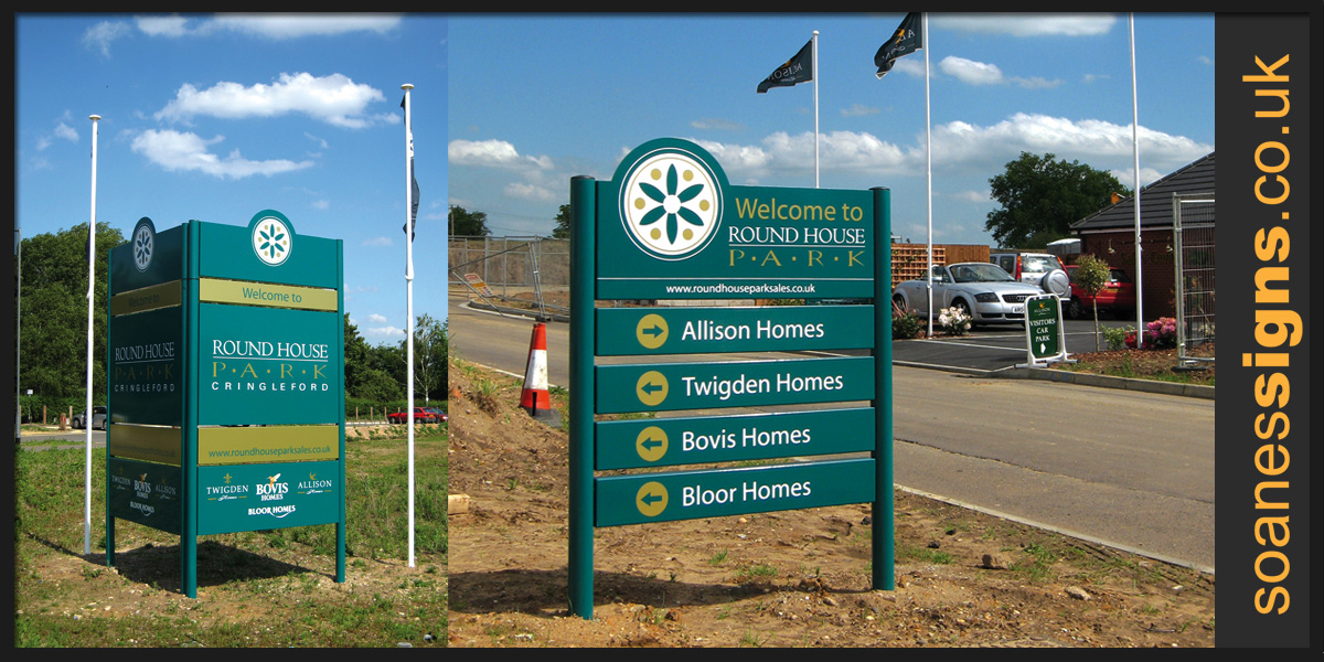 Multi-panel aluminium post mounted housing development signs for multiple developers on a single site, installed as part of work for Twigden Homes
