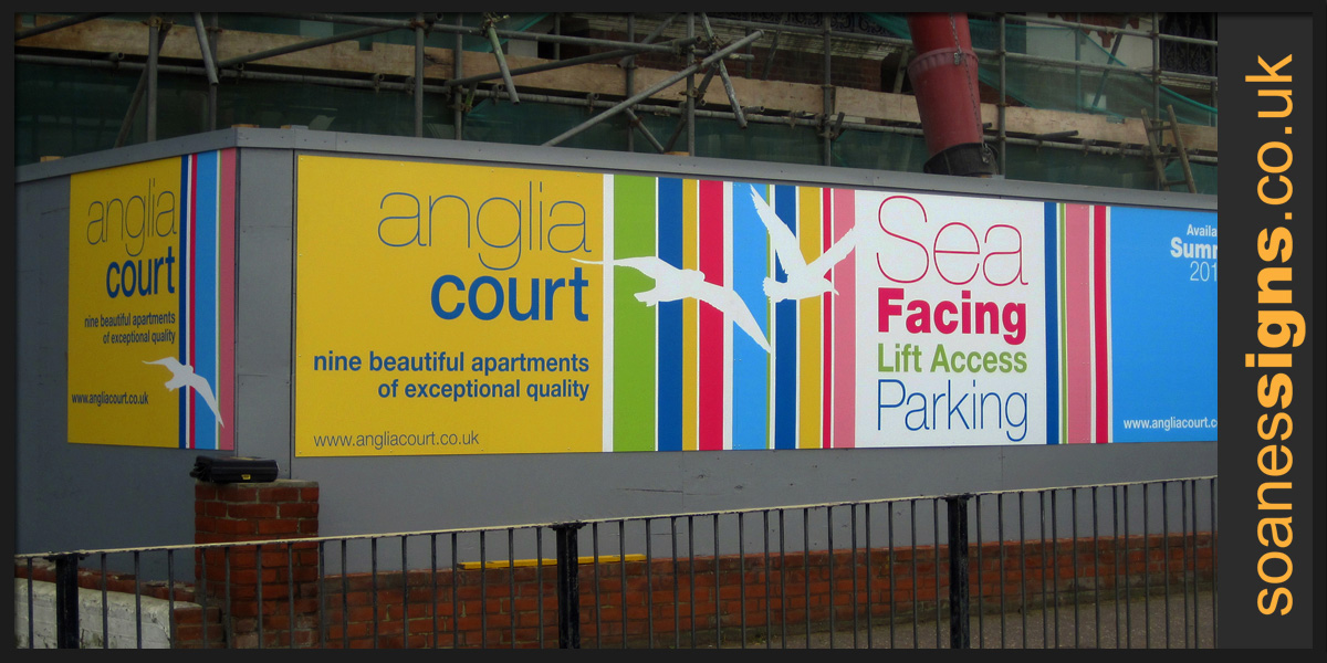 Multi-panel printed hording signage for Anglia Court construction site