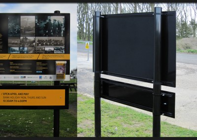 Post and rail aluminium panel information sign with printed graphics and interchangeable opening times for Langham Dome