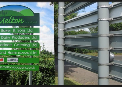Post and rail directory sign with aluminium powder coated panels and printed and applied graphics for Little Melton food-park