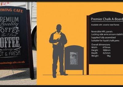 Premier chalk boards with wooden or metal frames provide a facility for regular changing messages and offers or a more traditional street sign design