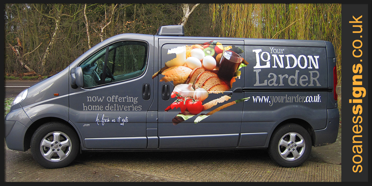 Printed and vinyl graphics applied to Your London Larder delivery vehicle