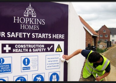 Printed graphic panel for Hopkins Homes health and safety construction site sign