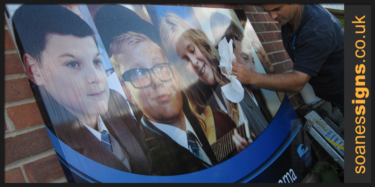 Printed graphic panel installed as part of a full signage and graphic revamp of Cromer Academy