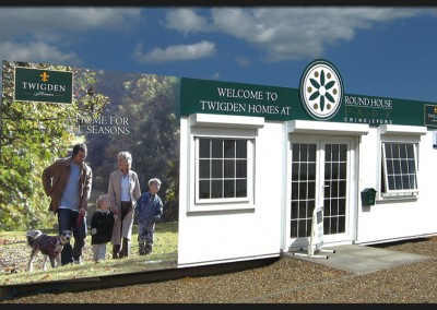 Printed graphic panels with shape cut header panel for Twigden Homes sales office mobile unit