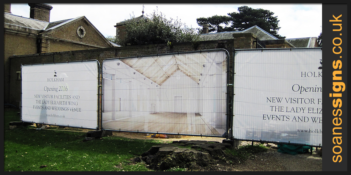 Printed mesh banners for developers construction site heras fencing and screens at Holkham Hall