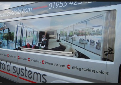 Printed photos on vinyl, reflective, and cut vinyl graphics with design for Sunfold Systems Citroen Relay installation van