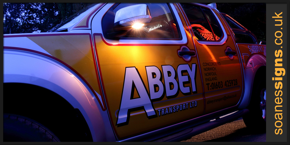 Reflective vinyl graphics applied to Abbey Nissan Nivara 4x4 truck