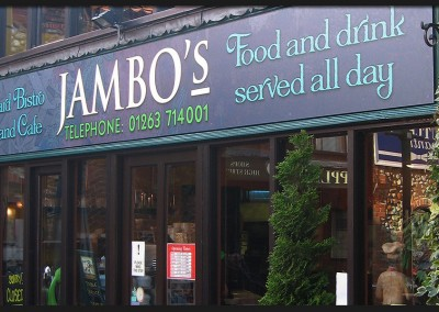 Shop front facia panels with printed graphic applied for Jambo's Courtyard Bistro and Cafe