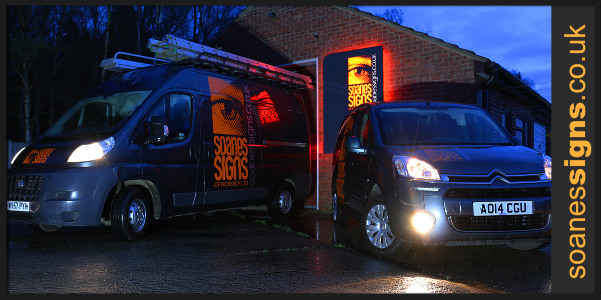 Soanes Signs of Norwich providing the highest quality vehicle graphics, bespoke signs, design and installation service for over 30 years
