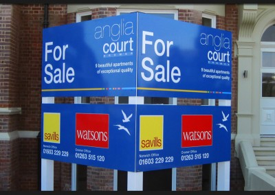 Triangular post mounted sign with printed graphics for Anglia Court property