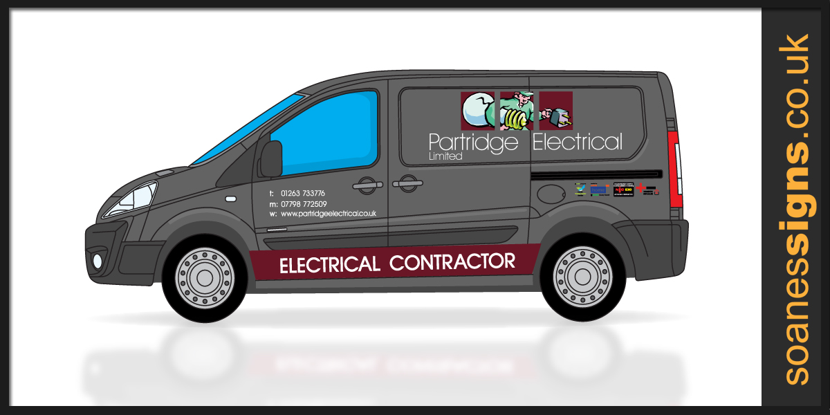 Vehicle design layout for printed and vinyl brand graphics for Partridge Electrical electrical contractor van