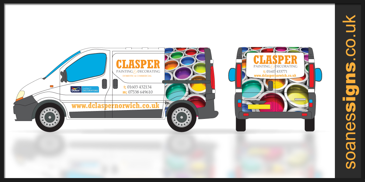 Vehicle design layout for vinyl print and wrap, with supporting vinyl brand graphics for Clasper Decorating Vauxhall Vivaro