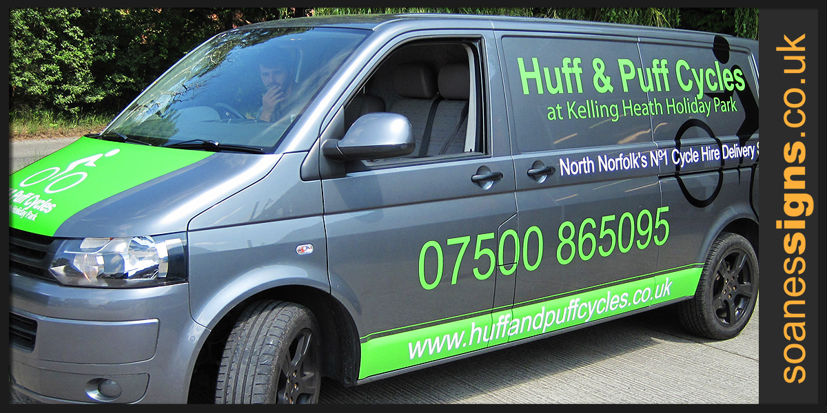 Vehicle wrap vinyl applied as green racing stripe to back doors and bonnet of Huff and Puff Cycles VW Transporter along with and vinyl graphic branding