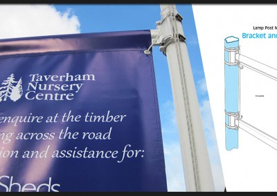 Vertical hanging double sided printed banner on bracket and pole system for Taverham Garden Centre