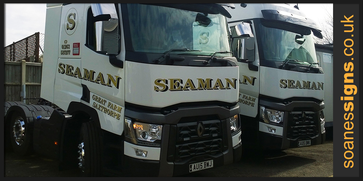 Vinyl Graphics designed and installed to fleet of Seamans lorry tractor units for CJC Lee