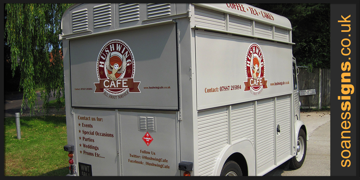 Vinyl print and branding vehicle graphics for Hushwings Cafe mobile catering vehicle