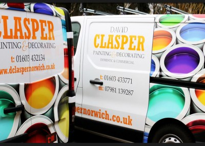Vinyl print and wrap to the rear panels and back doors of Clasper Decorating Vauxhall Vivaro with supporting vinyl brand graphics