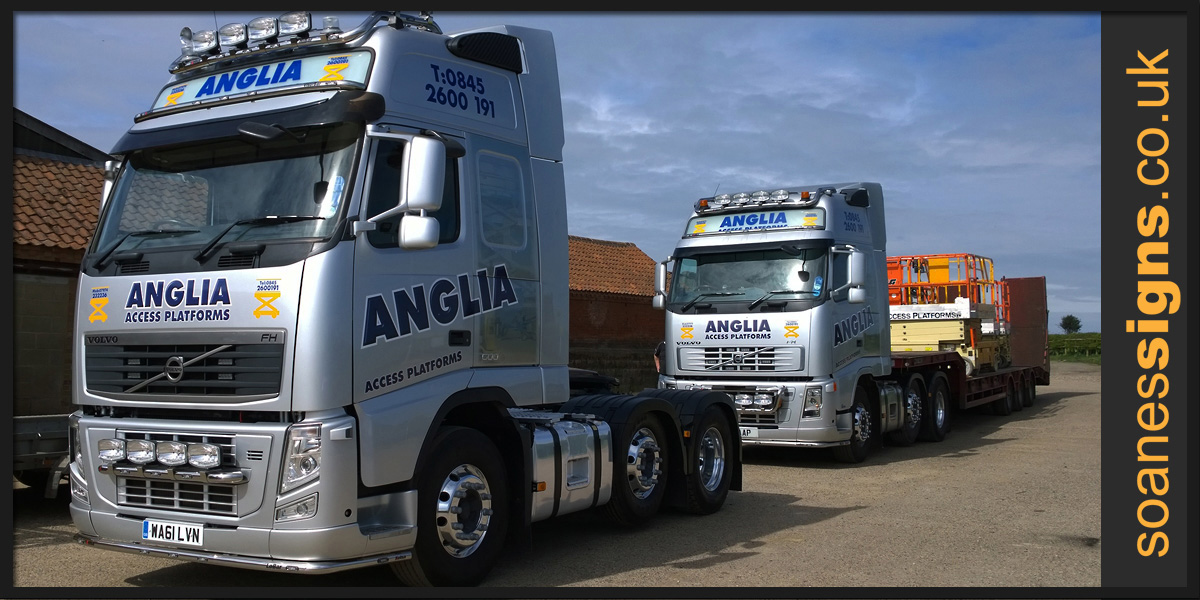 Vinyl print watermark and print and cut vinyl graphics applied to Anglia Access Volvo lorry cabs