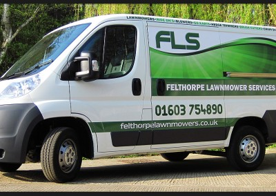 Vinyl printed and cute vehicle graphics applied to Felthorpe Lawnmower Services Citroen van
