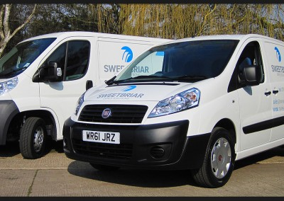 Vinyl vehicle graphic livery for Sweetbriar Office Solutions Fiat and Citroen vans