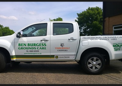 Vinyl vehicle graphics applied to Ben Burgess Ground Care Isuzu 4x4