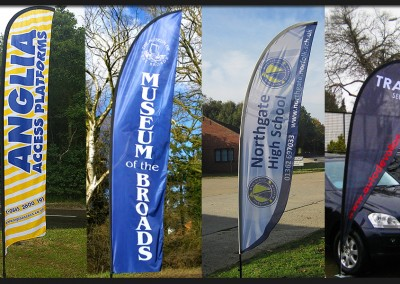 Windchaser flags, teardrop and feather shaped in three sizes with printed mesh fabric flag and base options for all ground types